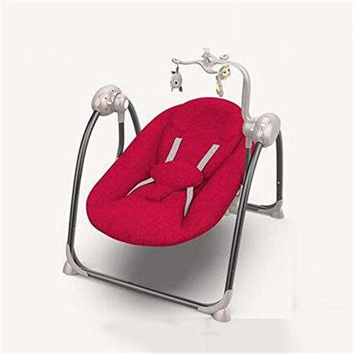 Sedia a dondolo sedia a dondolo elettrica per bambini sedia a dondolo automatica lettino pieghevole sedia a dondolo elettrica più leggera portatile-rosso_