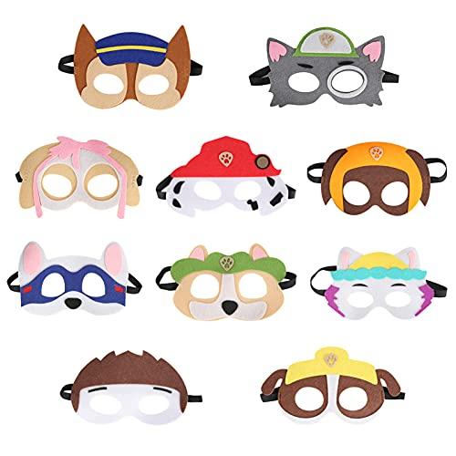 10 Stück Tiermasken Filz Tier Masks,Paw Dog Masken,Halbmasken Kinder,Geburtstag Augenmaske,Kinder Cosplay Masken,Paw Patrol Masken zum Ausmalen,für Maskerade Halloween,Weihnachten,Geburtstag