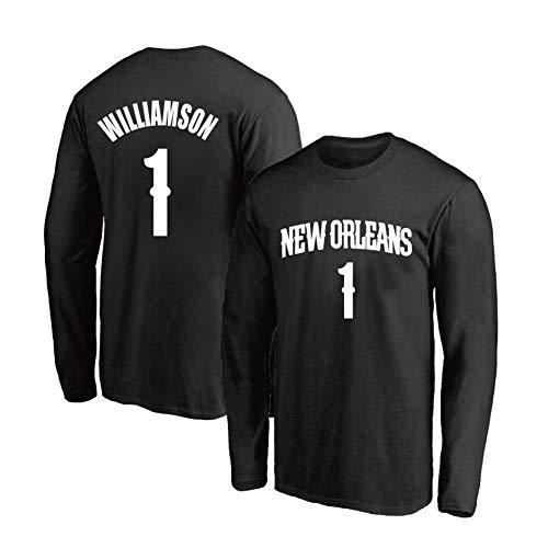 DADD camiseta de baloncesto de manga larga para hombre y mujer New Orleans Pelicans # 1 Zion Williamson, para deportes ocio y ocio cuello redondo suéter