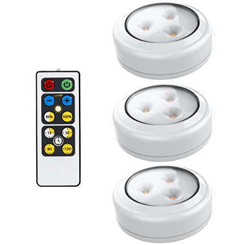 Brilliant Evolution LED Puck Light 3 Pack with Remote | Wireless LED Under Cabinet Lighting | Under Counter Lights for Kitchen | Battery Operated Lights | Under Cabinet Light | Battery Powered Lights