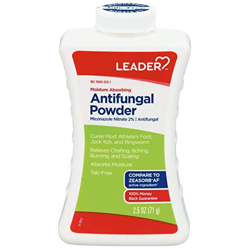 LEADER Miconazole Antifungal Powder, Moisture Absorbing, Talc-Free, 2.5 oz, Compare to Zeasorb, Pack of 1