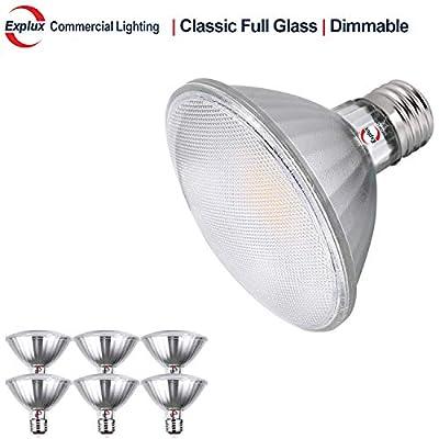 Explux Dimmable Classic Full Glass PAR30 Short Neck LED Flood Light Bulbs