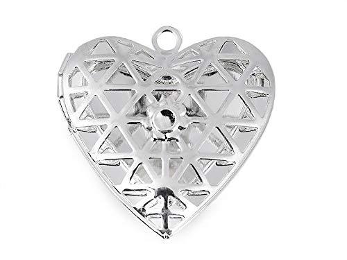 1pc de la Luz Plata de Filigrana Medallón de Corazón 26x26mm, Metal, Pendientes, Colgantes Y Medallones, de la Joyería