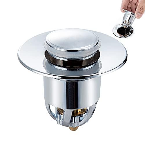 Abflussstopfen,pop up ablaufgarnitur mit sieb, Ablaufgarnitur Waschbecken mit Anti Clogging Sieb und 2 Dichtungen,Verwendet für Spülen mit einer Abflussöffnung von 34-40 mm.…