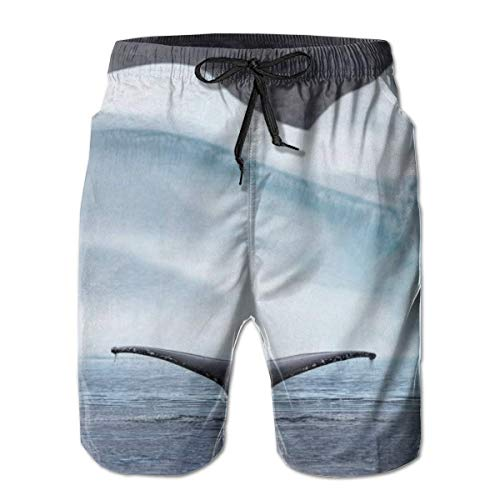 OMNHGFUG Pantalones cortos de playa para hombre, con diseño de cola de ballena, estilo casual, con cordón, pantalones cortos elásticos de verano con bolsillos