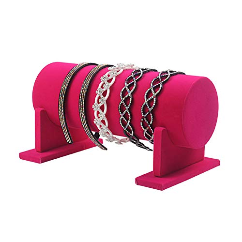 GoMDSA Soportes de exhibición de joyería de terciopelo rojo rosa de 11.8 pulgadas con barra en T para la organización del hogar