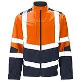 Mens Softshell Jacket Hi Vis Viz High Visibility Reflective & Plain Water Resistant Shower Proof Rain Repellent Windproof Safety Site Coat Workwear Builder Work Wear Warm Top(Orange/Navy,L)