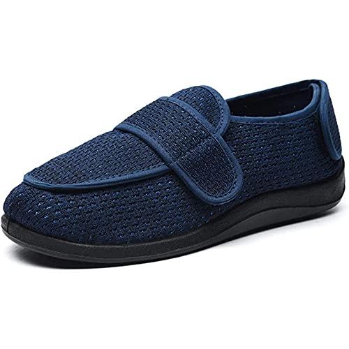 CYN Zapatos Diabéticos Respirable, Hombres Mujeres Diabético Zapatos de Malla Ajustables de Verano Zapatillas Planas-Azul_38EU