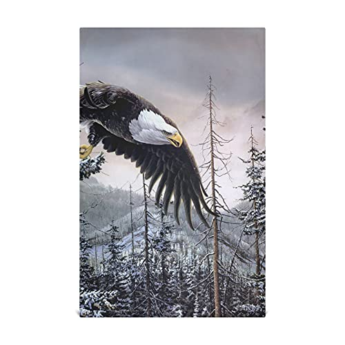 Art Eagle Birds Forest Spruce Mountain Winter Snow Kitchen Paper Towels 28x18 Inch Cotton-like Material Very Soft Highly Absorbent Lint-free Decorative Kitchen Towels Suitable For Kitchen Sink Dining