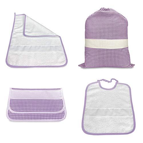 Tex family Kindergarten-Set, 4-teilig, mit Schlafsack und Handtuch und Beutel, kariert, gefärbt, mit Aida-Stoff zum Besticken des Namens unisex LILLA