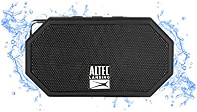 Altec Lansing Mini H2O - Wireless, Bluetooth, Waterproof Speaker, Floating, IP67, Portable Speaker, Strong Bass, Rich Stereo System, Microphone, 30 ft Range, Lightweight, 6-Hour Battery, (Black)