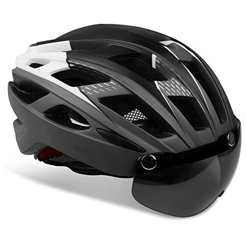 KINGLEAD Casco Bici con Luce di Sicurezza e Visiera a Scudo, Casco da Ciclismo Unisex Certificato CE per Bici da Corsa All'aperto Sicurezza Sportiva Casco da Bicicletta Superleggero Regolabile