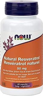 NOW Resveratrol Natural 50mg + 60 Veg Capsules, 60 g