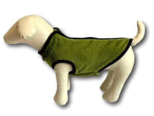 Cara Mia Dogwear Zip Back Fluffy Faux Fur Vest Hond Jumper Trui Jas voor Kleine Ras Honden, en maten, XLarge, Green/Black trim