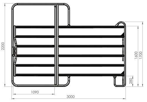 Eider Weidepanel mit Tor (1,0 m breit, 2,20m hoch), Zaunpanel - 3,0m Länge