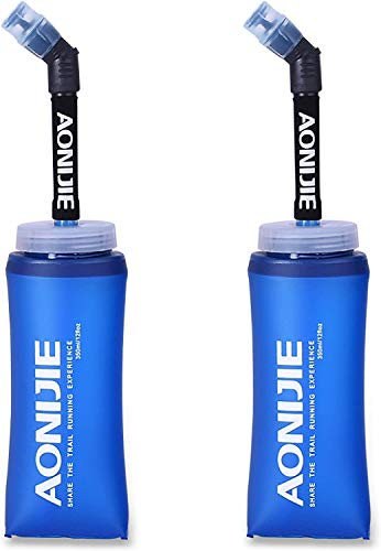 2 cantimploras plegables Aonije sin BPA, de TPU, botella con pajita, 350ML