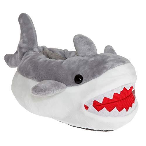 SlumberzzZ Kinder Hai Hausschuhe (27-28 EU) (Weiß/Grau/Rot)
