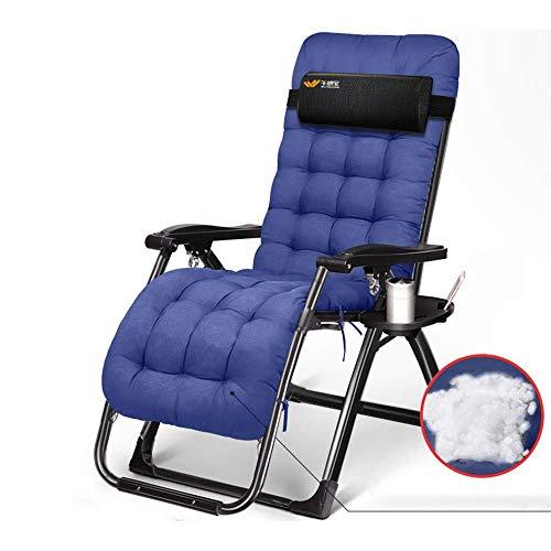 ZEFENG FENGZE Home Leisure Chair - Campingstühle einstellbar Klappstuhl Büro Nap Stuhl Outdoor Beach Patiostuhl mit Baumwoll Padsupport 400lbs (Color : Blue)