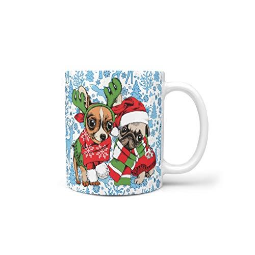 O5KFD & 8 11 ounce Christmas Flower Animal Mischen Cappuccino beker met handvat porselein gepersonaliseerde mokken - meisjes, pak voor woonhuis te gebruiken
