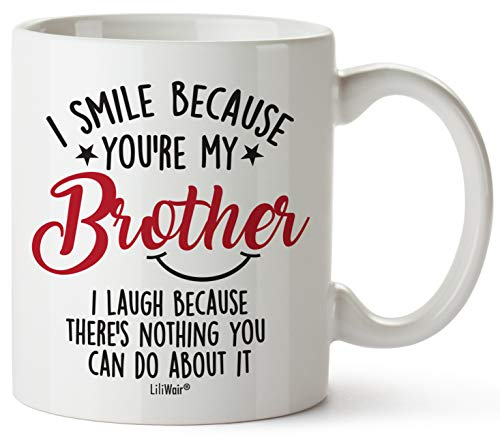 Fathers Day Presents For Brother. Brother Present From Brother. Big Brothers Presents From Brother. Little Brother Birthday. Funny Coffee Mug Cup Ideas. Happy Funny Mugs From Brother and Sister