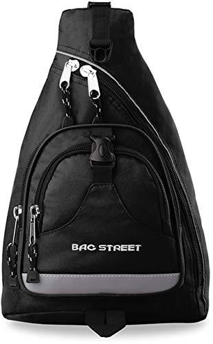 Bag Street sportlicher Rucksack Einarmrucksack Sporttasche Freizeittasche (schwarz)