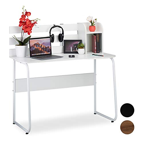 Relaxdays, Weiß Schreibtisch, 2 Fächer, Rückwand, moderner Arbeitstisch für Jugendliche, Studenten, HBT 110x110x57 cm, PB, 110 x 110 x 57 cm