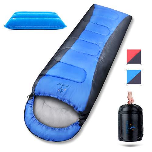 Winter Daunen-Schlafsack 3-4 Jahreszeiten, -5 bis 15 ° C (5°C Komforttemperatur), Wasserfest Winddicht, Klein & Leicht, mit Kompressionssack und Aufblasbar Kopfkissen für Camping Outdoor