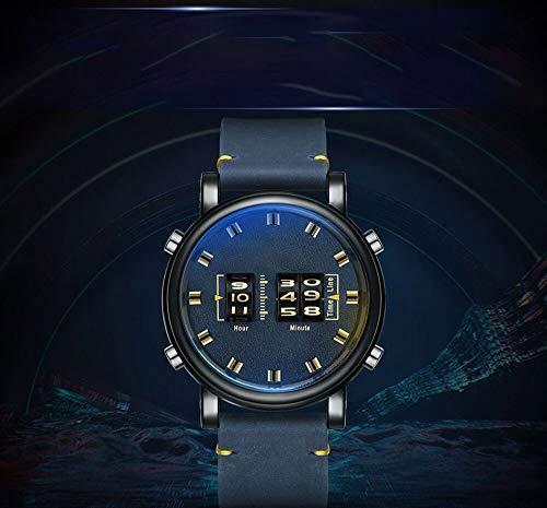 Voigoo Persönlichkeit Digital Drum Roller Uhren Marken-Quarz-Uhr-Mann-Leder Relogios masculinos Neue Armee Uhr Männlich
