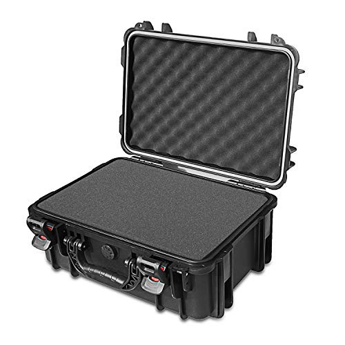 AxiGear Waterproof/Airtight Hard Case with DIY Customizable Foam Insert 17 x 13 x 8in (Black)