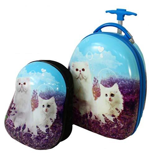Kindertrolley + rugzak katten - harde schaal - 47x34x25cm koffer 31x27x14cm rugzak - kinderbagage