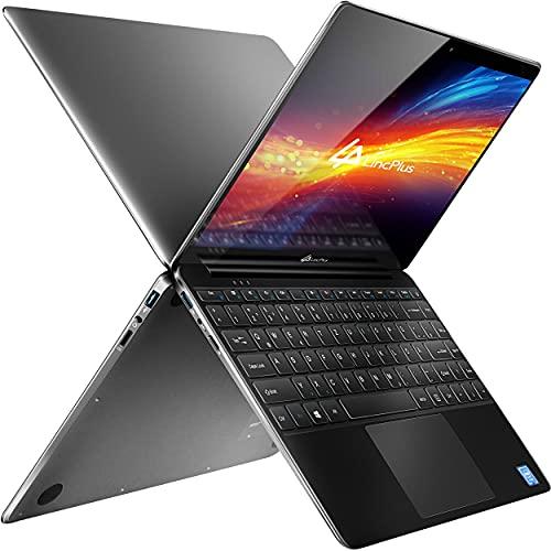 LincPlus P1 Laptop Full HD 13,3 Zoll Ultrabook, Intel Celeron N4000 4GB RAM 64GB eMMC aufrüstbar mit bis zu 512GB SSD lüfterlos kompakter Aluminium Notebook mit QWERTZ Tastaturlayout, Windows 10 S
