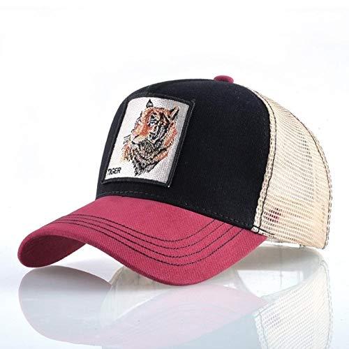 Gorras de bisbol de Moda Hombres Mujeres Snapback Hip Hop Sombrero Verano Malla Transpirable Sun Gorras Unisex Streetwear-Red2 Tiger