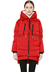 Orolay Dames Donsjack halflange Winterparka Warme Outdoorjas rood XL