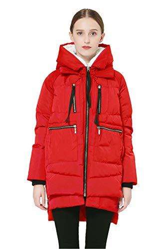 Orolay Damen Daunenmantel Mittellang Winterparka Warme Outdoorjacke Rot L