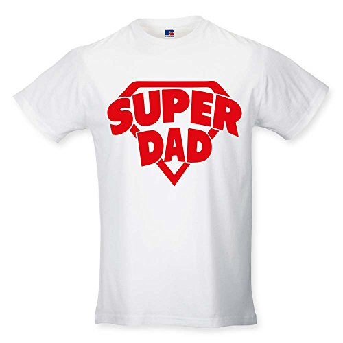 Babloo T Shirt Maglia Maglietta Idea Regalo per Il Papa'SuperDad - Stemma XXL Bianca