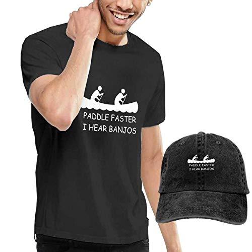 LYZBB Camisetas y Tops Hombre Polos y Camisas,Let's Avocado Avocuddle Adult Round Neck Short Sleeve T Shirts Black and Adjustable Cowboy Hat