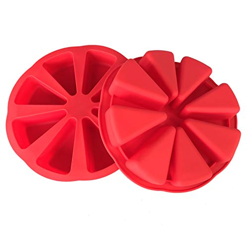 Cake Molds,Baking Molds Silicone Triangle,8-cavity Pizza Baking pan ,Chocolate Cake Cupcake Biscuit Soap Baking Mold for Homemade ,Red,(2 pieces)
