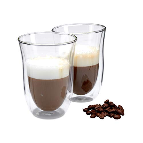Relaxdays standaard set thermoglazen, 2 glazen, Gastro, ideaal voor cappuccino, glazen, dubbelwandig, vaatwasserbestendig, 250 ml, transparant