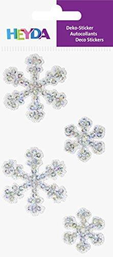 Baier & Schneider Sticker-Etikett Textilsticker Eiskristalle, diverse, 1 Stück, silber, 4 Stück