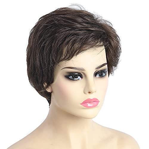 Ladies Short Wigs for White Women Short Wig with Bangs Wavy Lady's Wigs Curly Synthetic Natural Older Womens Hair Wigs Straight Bob Hair Cheap Silver Gary Pixie Blonde Brown Black Free Wig Cap