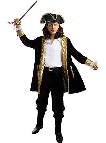 Funidelia | Disfraz de Pirata Deluxe - Coleccin Colonial para Hombre Talla M Corsario, Bucanero - Color: Negro - Divertidos Disfraces y complementos