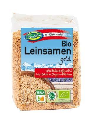 Bio-leben 100% österreichischer goldener Leinsamen 1,4kg Öko Leinsaat gold 7x200g