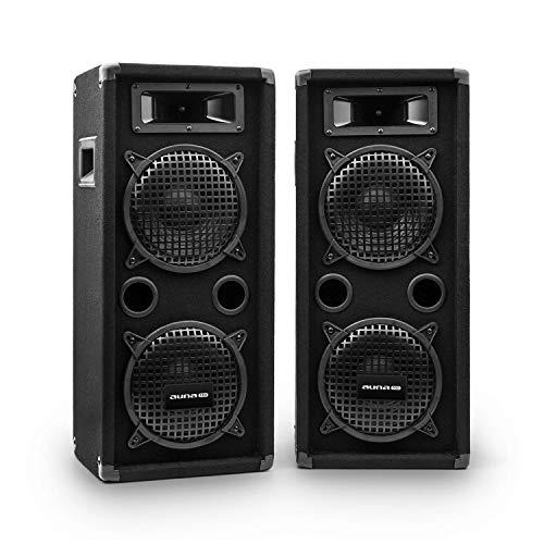 auna Pro PW - passiver PA-Lautsprecher PA-Box, Lautsprecher-Paar, schwarz, Horn-Mitteltöner, 2 x Piezo-Hochtöner,zwei 3-Wege-Lautsprecher, 400 Watt, schwarz