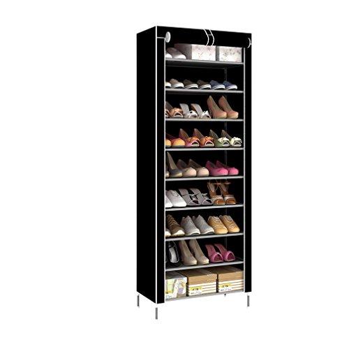 Kunyoxiu Zapatero de 10 niveles, 60 x 30 x 160 cm, para aprox. 30 pares de zapatos, estrecho, de tela no tejida, para construir, color negro