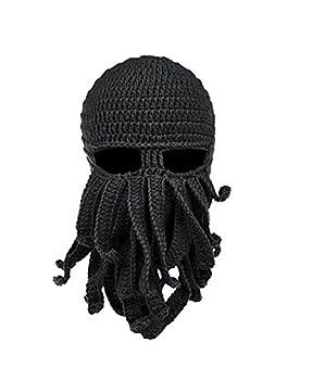 Fashionclub Women Men Winter Warm Octopus Entacle Beanie Wind Mask Knit Hat Cthulhu Fisher Cap Black