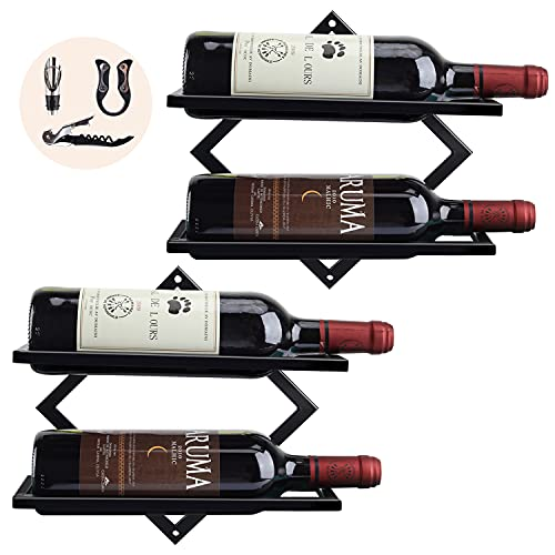 2 Pack Wine Rack Wall Mounted, Metal Hanging Wall Wine Rack, Wall Wine Bottle Holder for Adult Beverages or Liquor Storage, Mounted Wine Rack for Home & Kitchen Display Decor (Black)