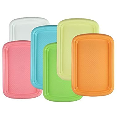 Tzipco's Durable Plastic Rectangular Serving Tray / Fast Food Plate, 15  x 10  (Set of 6 Colors)