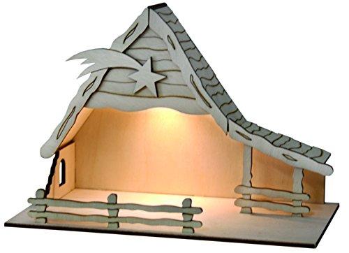 Sol Expert Group 44411 - Solar Weihnachtkrippe Bethlehem, Bausatz, Holz, Natur