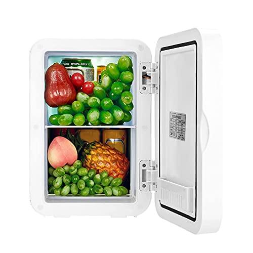 Nevera Pequeña Portatil 8 Litros, Bajo Consumo Mini Refrigerador, Frigorifico Pequeño Mantener caliente Funciones Enfriar y Calentar, Nevera Mini Cosmético Temperatura de Pantalla Dig (Blanco)