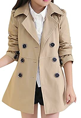 JiaYou Girl Child Kid Lapel Double Breasted Outwear Pea Trench Coat(Brown,12 Years)